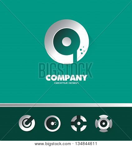 Vector company logo icon element template silver white circle dots shadow green background games media advertising metal