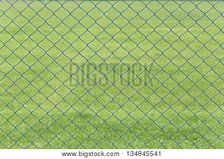 wire mesh or steel cage of green lawn in the garden for design background.