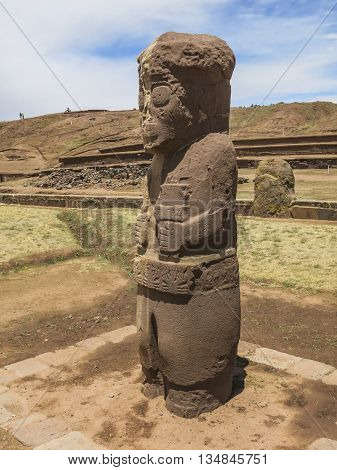 Ancient statue in the archaeological site of Tiahuanaco, Bolivia