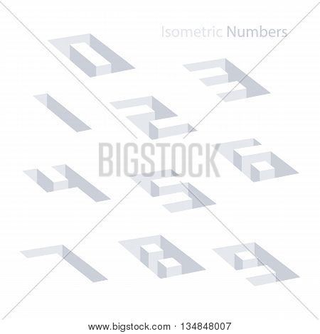Collection of the isometric numbers. Effect Hole. Three-Dimensional elements. Vector illustration.