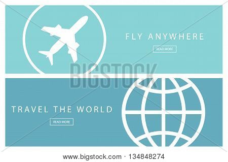 Set of flat design travel concepts. Travel the world and Fly anywhere. Presentation templates. Vector illustration.