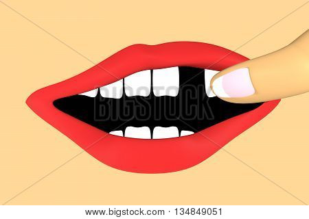 human mouth with a missing tooth. Toe is showing the gap