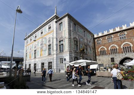 Genova Italy - September 27 2015: Palace of St. George also known as the Palazzo delle Compere di San Giorgio situated in the Piazza Caricamento