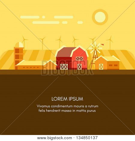 Agrarian landscape with a barn garage mind mills. Colored flat vector illustration with a field for text on bottom