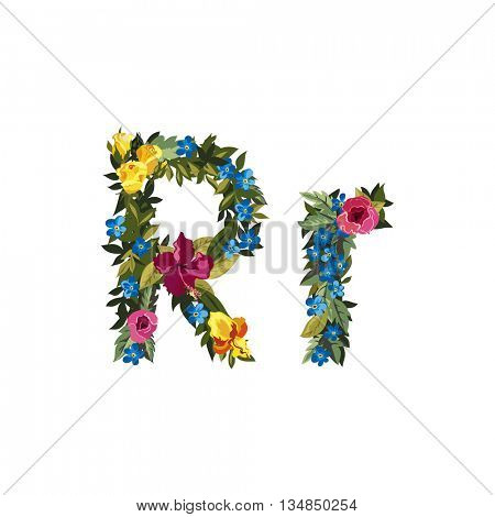 R letter. Flower capital alphabet. Colorful font. Uppercase and lowercase. Vector illustration. Grotesque style. Floral alphabet.