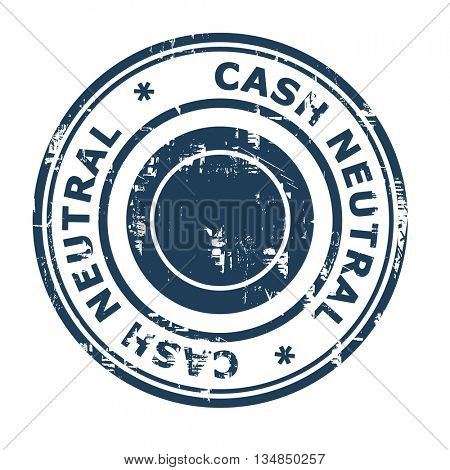 Cash Neutral business concept rubber stamp isolated on a white background.