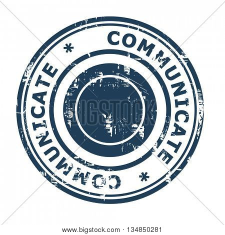 Communicate business concept rubber stamp isolated on a white background.