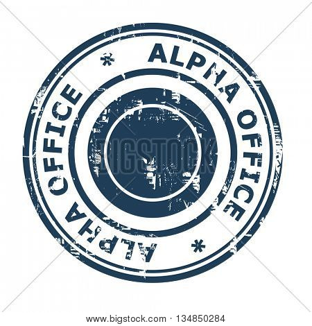 Alpha Office business concept stamp isolated on a white background.