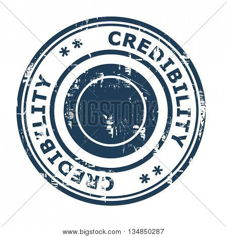 Credibility business concept rubber stamp isolated on a white background.