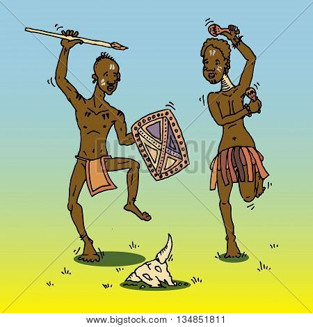African people dancing around animal skull. Hand drawn vector stock illustraton. Colorful tribal Africa