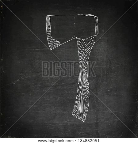 Axe icon. Hand drawn vector stock illustration. Chalk board drawing