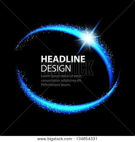 Round energy frame. Shining circle banner. Magic light neon energy circle. Glowing fire ring trace.