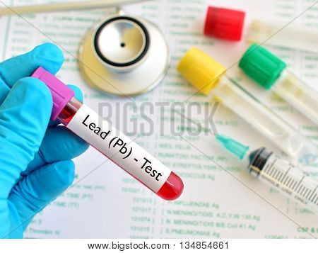 Test tube with blood sample for lead level test