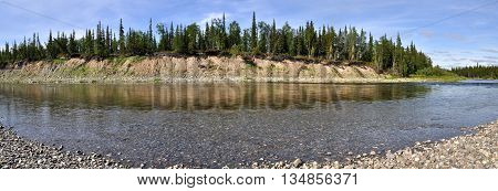Panoramic view of the river. Landscape mountain river in the polar Urals.