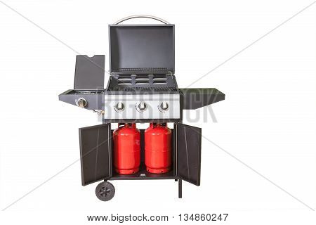 gas BBQ grill close up isolated on white