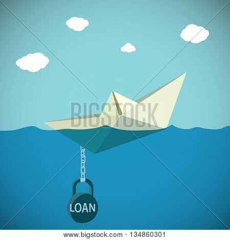 Paper Boat chained to the weight with the inscription loan. Stock Vector cartoon illustration.