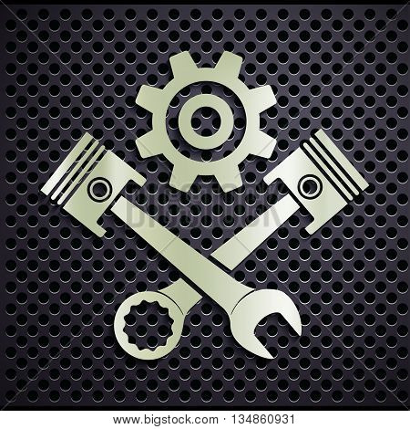 Metal emblem engine with plungers and a wrench. Stock vector illustration.