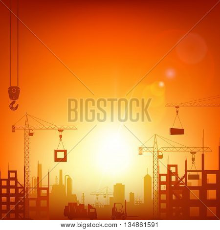 Industrial machinery and the construction crane. Stock vector illustration.