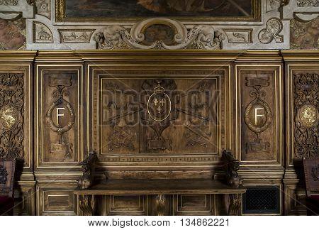 FONTAINBLEAU, FRANCE - MAY 16, 2015: It is fragment of carved wood decocaration of door of Gallery Francis I.