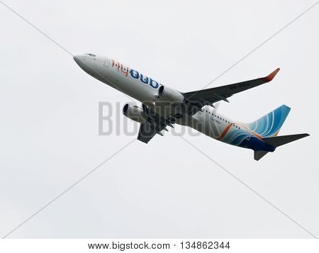 Moscow - June 4 2016: Boeing 737-8KN (W) budget airline Flydubai takes off at the airport Vnukovo June 4 2016 Moscow Russia