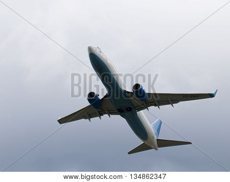 Moscow - June 4 2016: Boeing 737-8LJ (W) of the Russian budget airline flies to victory Vnukovo June 4 2016 Moscow Russia
