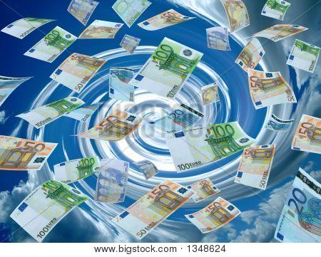 Money Flying With Twirl Sky