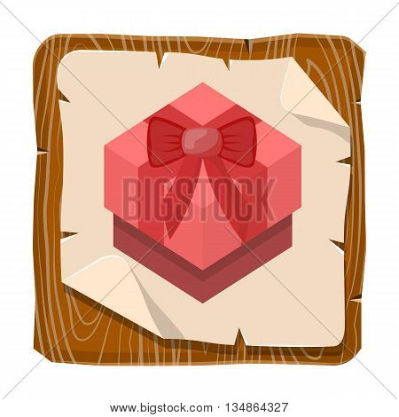 Red gift box colorful icon. Vector illustration in cartoon style