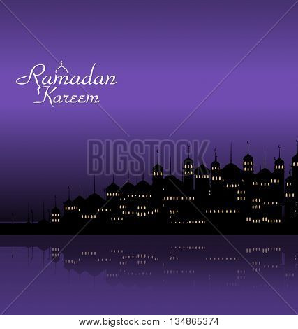 Illustration Ramadan Kareem Night Background with Silhouette Mosque and Minarets - Vector