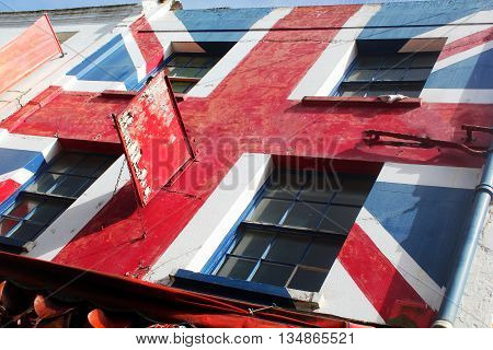 Abstract Creative Union Jack Rustic Building Scene England