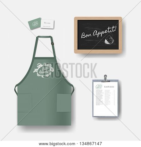 Vector restaurant cafe set: chalkboard menu business card and apron. Layout set of corporate identity. Mock up template.