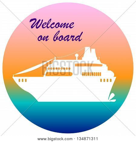 Cruise liner illustration with text place welcome on board, cruise banner flat style