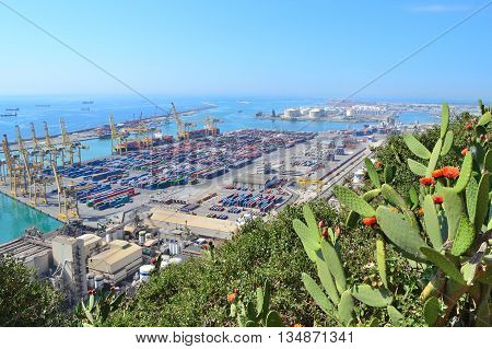 Barcelona Spain. View of the port from Montjuic