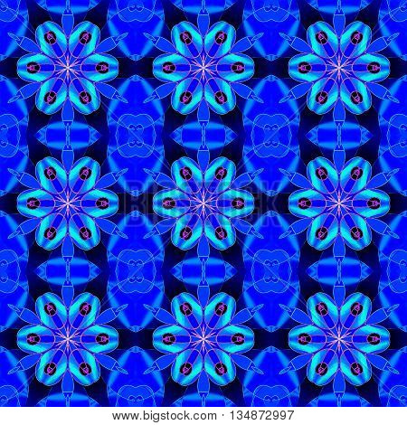 Abstract geometric seamless background. Regular floral pattern, symmetric blossoms in blue shades with  violet, magenta and black elements on dark blue, conspicuous and vividly.
