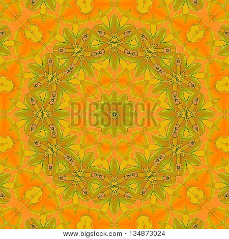 Abstract geometric seamless background. Ornate floral circle ornament in yellow, orange, ocher brown and light green shades.