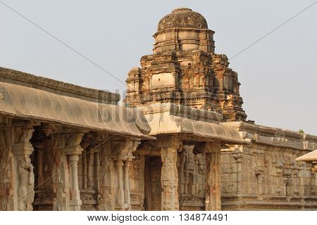 Sacred monuments in Hampi city. Stone temples of the royal dynasty