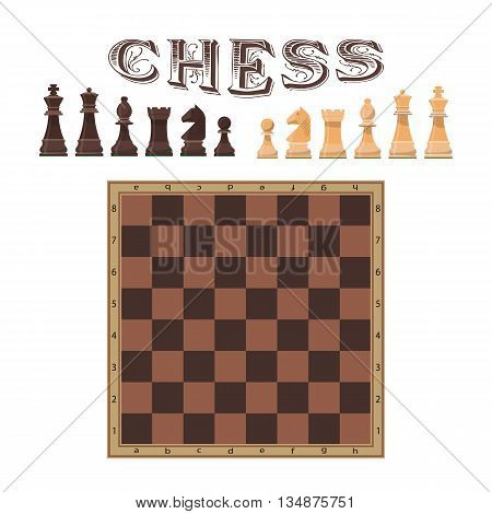 Vector set of chess figures. Illustration of chess piece and board. Icons and design elements isolated on white background.