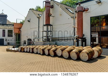 CRIEFF SCOTLAND - JUNE 06 2016: Whisky barrels at The Famous Grouse Experience Glenturret Distillery Crieff Perthshire Scotland