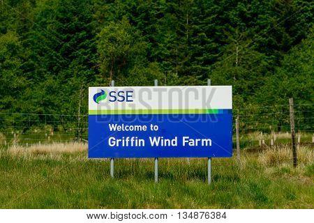 ABERFELDY SCOTLAND - JUNE 06 2016: Sign at entrance to Griffin Wind Farm near Aberfeldy in Perthshire Scotland.