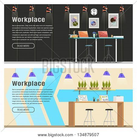 Two banner for web design. Office theme. Workplace. Flat design vector illustration. Horizontal banner.