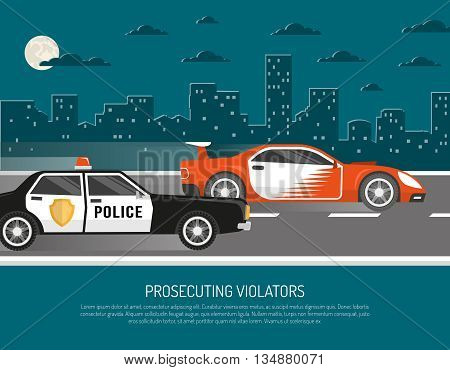 Street racing in city scene with chasing police car approaching violator and warning text abstract vector illustration