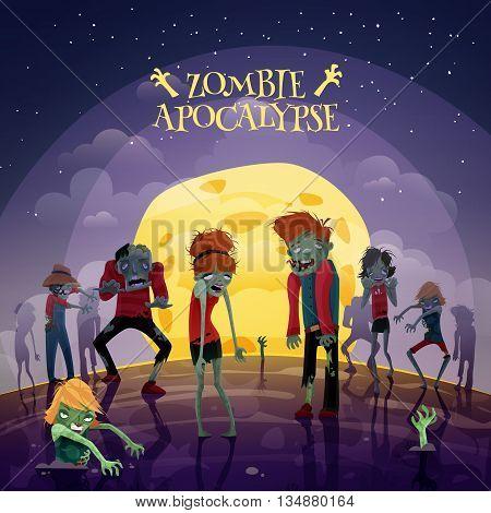 Zombie moonlight apocalypse cartoon background with moon sky and stars vector illustration