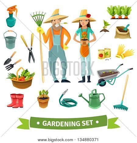 Gardening cartoon set with people harvest and equipment isolated vector illustration
