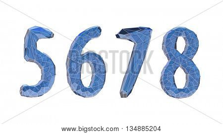 transparent crystal number set, five, six, seven, eight,3d illustration