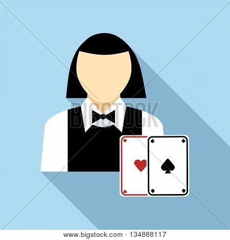 Pretty croupier woman with cards icon in flat style with long shadow