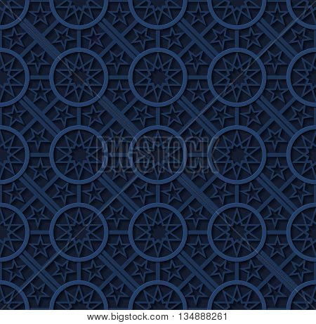 Stock vector illustration seamless pattern, arabesque background, Arabic background, geometric volume blue pattern