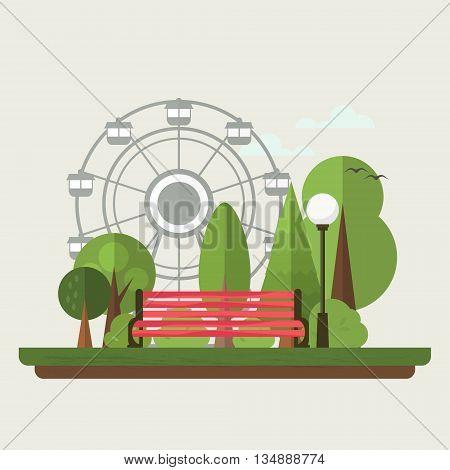Flat illustration of urban amusement park . Vector .