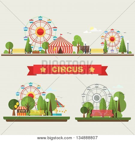 Travelling carnival amusement park show fair festive set . Vector illustration .