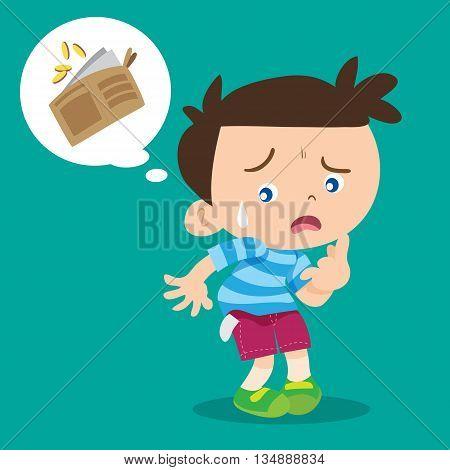 illustration of cartoon cute boy lose money.