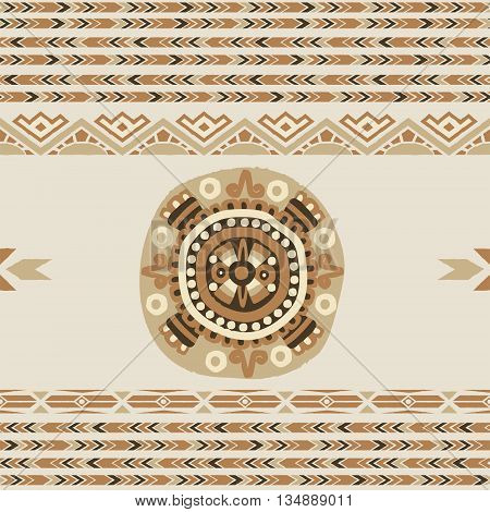 Ethnic seamless pattern with tribal aztec motives.Aztec pattern.Vector seamless background with folk elements .