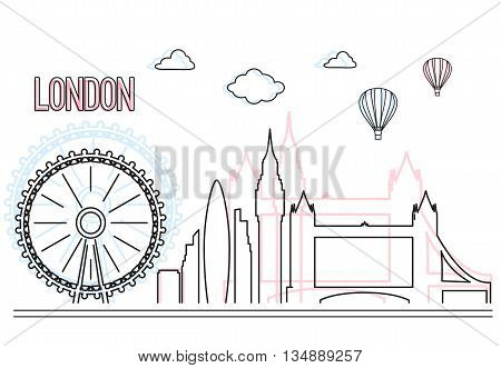 Urban vector city skyline and buildings of London . Cityscape icon. Vector lineart illustration .